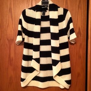 Sweaters - Cardigan-navy and cream stripe